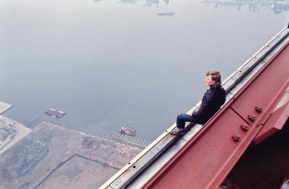 Photo Credit: Jim Moore - Philippe Petit preparing