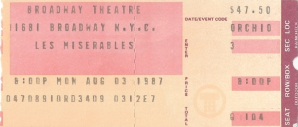 Les Mis Ticket Stub