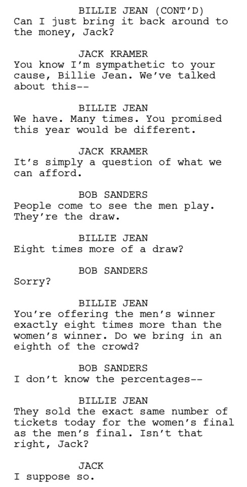 Battle of the Sexes Script Clip